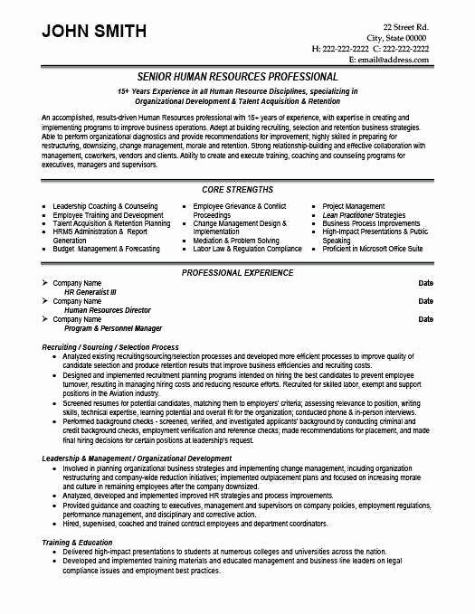 Human Resource Generalist Resume Beautiful Hr Generalist