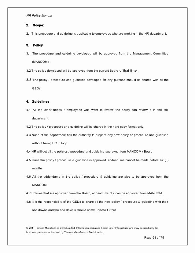 Human Resource Manual Template Printable Human Resource