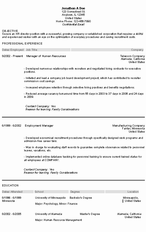Human Resource Resume Objective