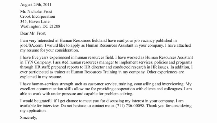 Human Resources assistant Cover Letter Sample Cover