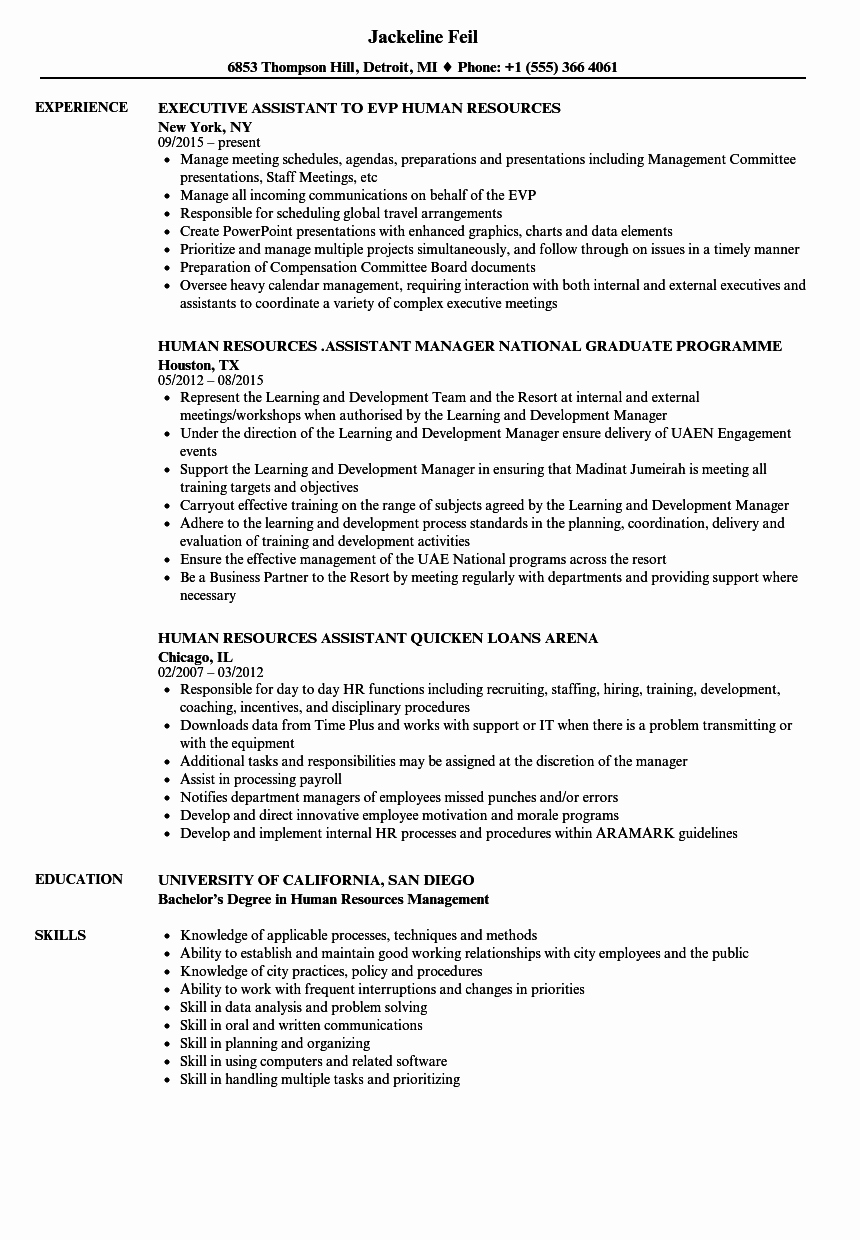 Human Resources assistant Human Resources Resume Samples