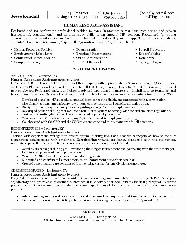 Human Resources assistant Resume F Resume