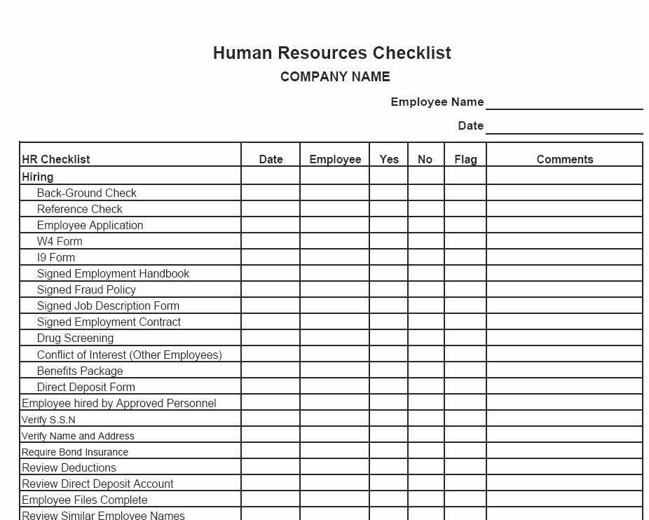 Human Resources Checklist Template New Hire Checklist form