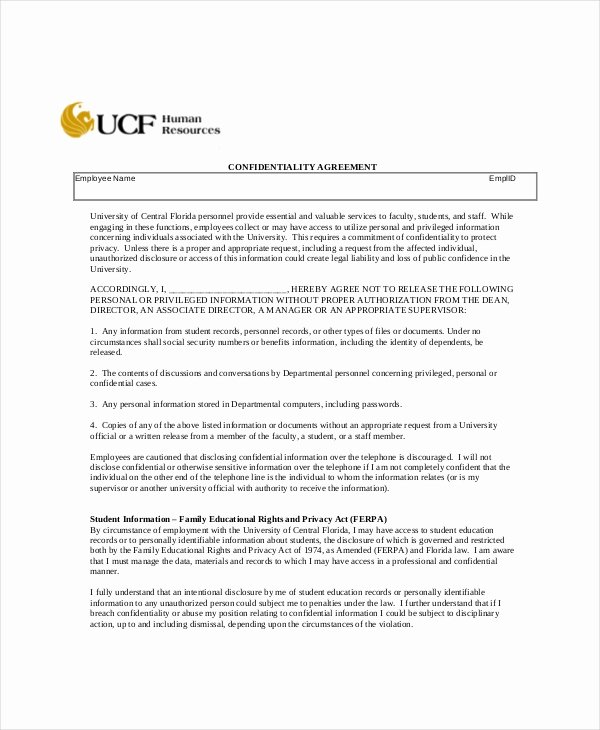Human Resources Confidentiality Agreement – 10 Free Word