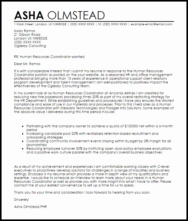 Human Resources Coordinator Cover Letter Sample