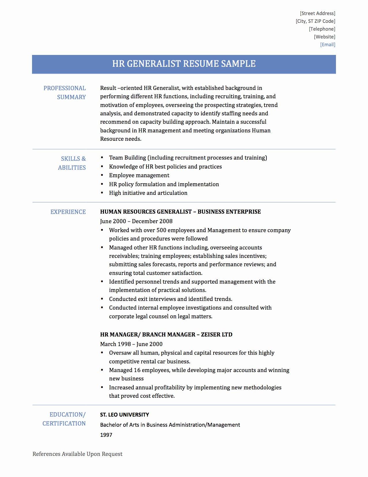 Human Resources Generalist Resume Resume Ideas