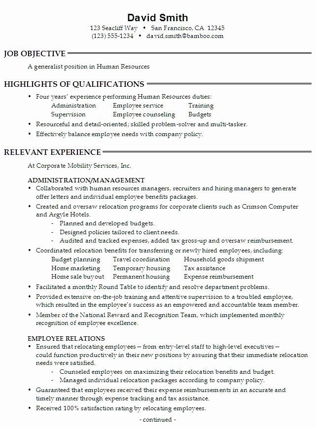 Human Resources Generalist Resume Sample Best Resume Gallery