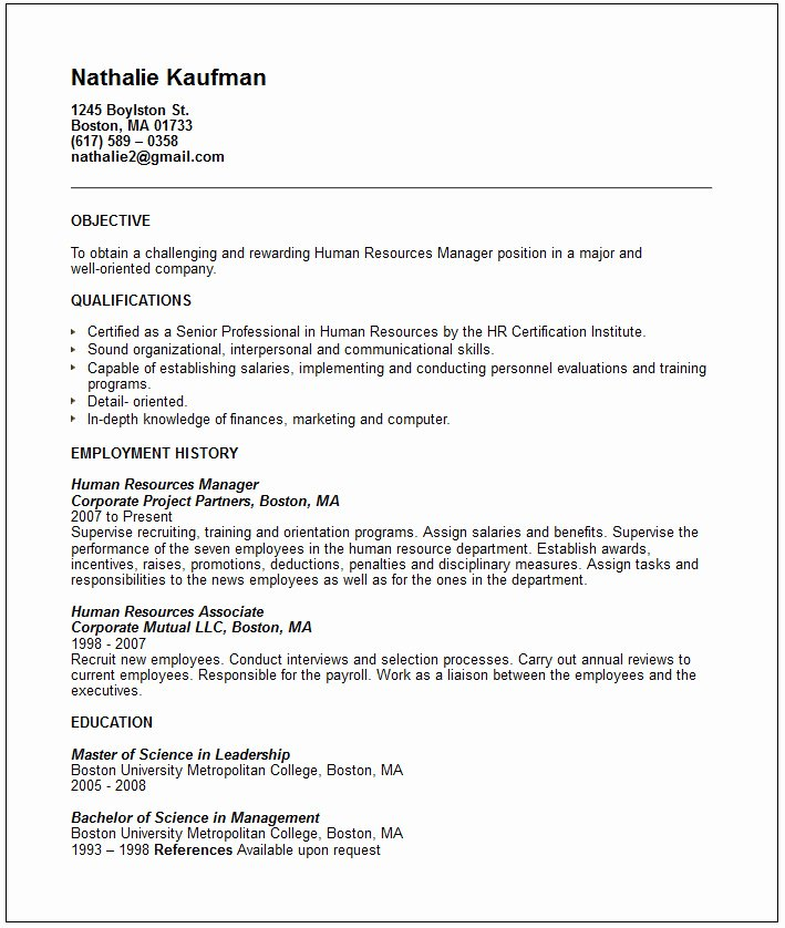 Human Resources Manager Resume Example Free Templates
