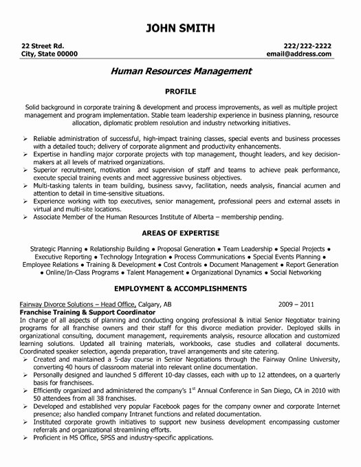 Human Resources Manager Resume Sample & Template