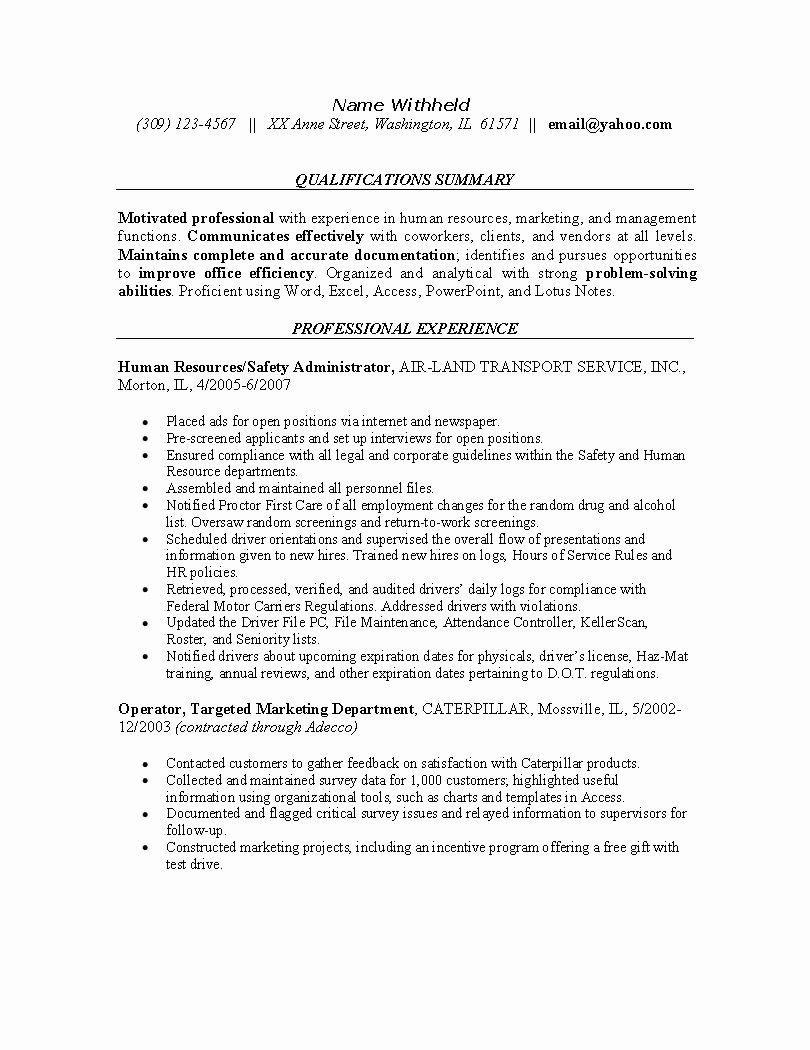 Human Resources Resume Example Sample Resumes for the Hr