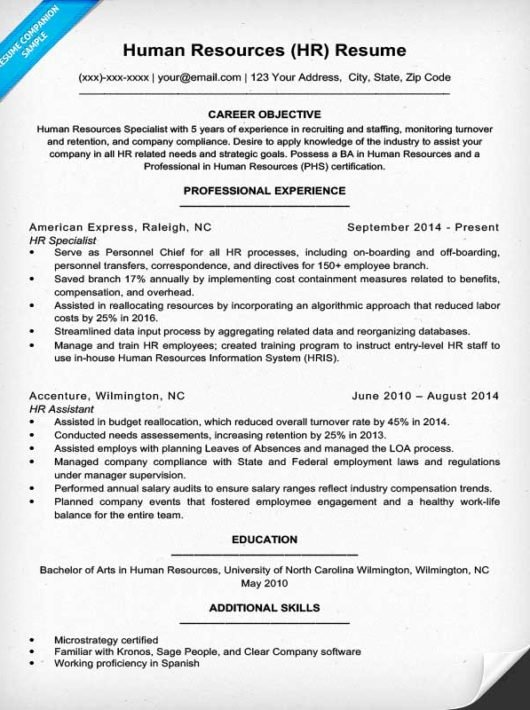Human Resources Resume Sample & Writing Tips