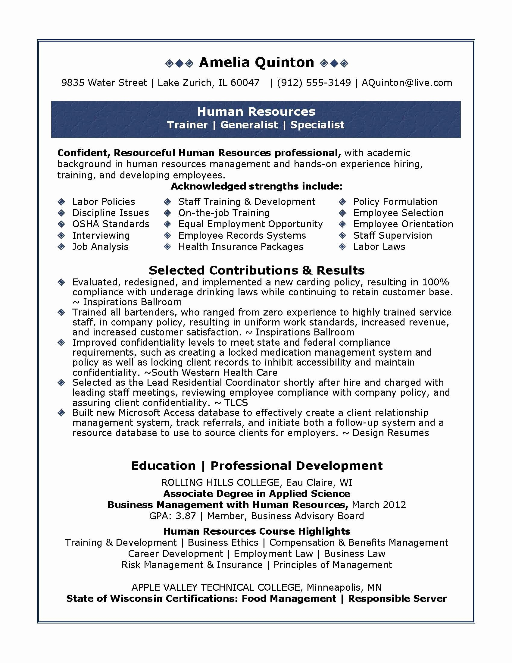 Human Resources Resume Summary Examples Bongdaao