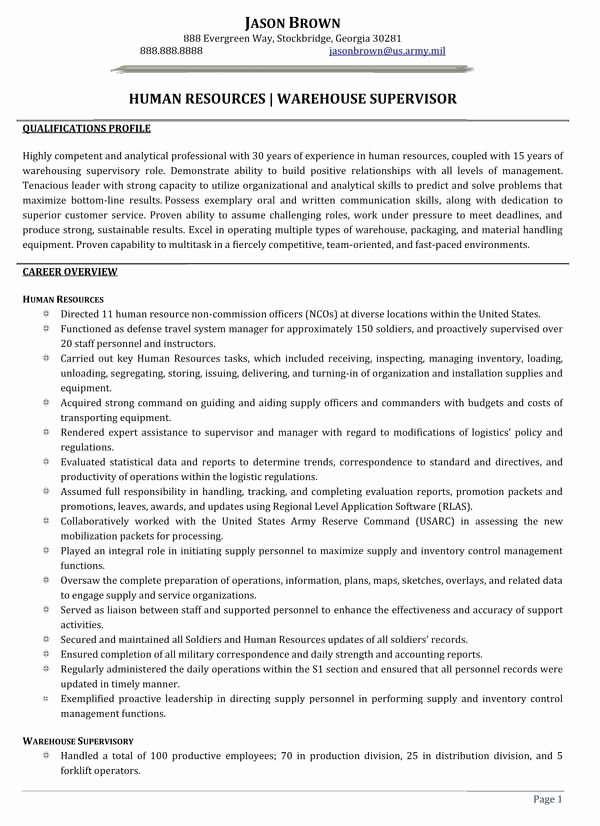 Human Resources Warehouse Supervisor Resume Sample