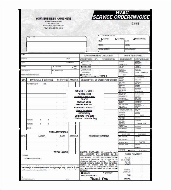 Hvac Invoice Templates – 6 Free Word Excel Pdf format