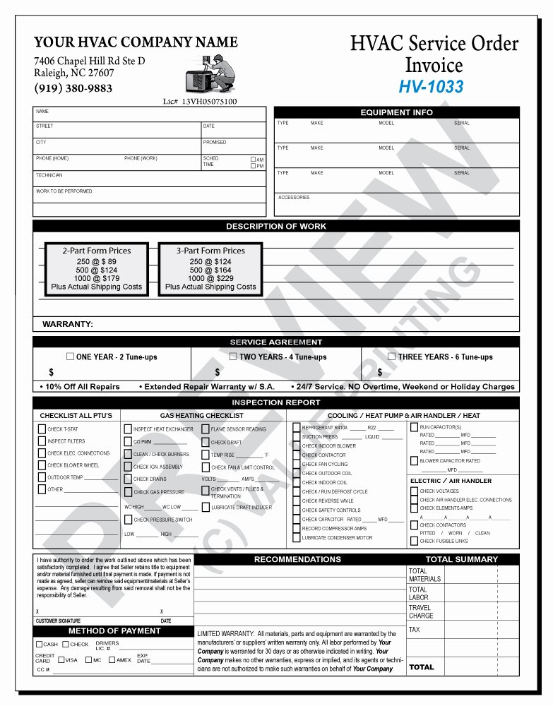 Hvac Maintenance Contract forms Free Printable Documents