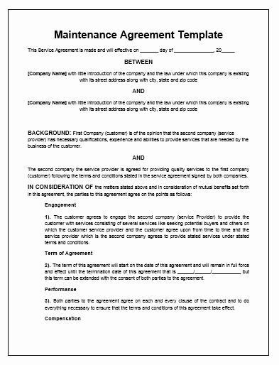 Hvac Maintenance Contract Sample Free Printable Documents