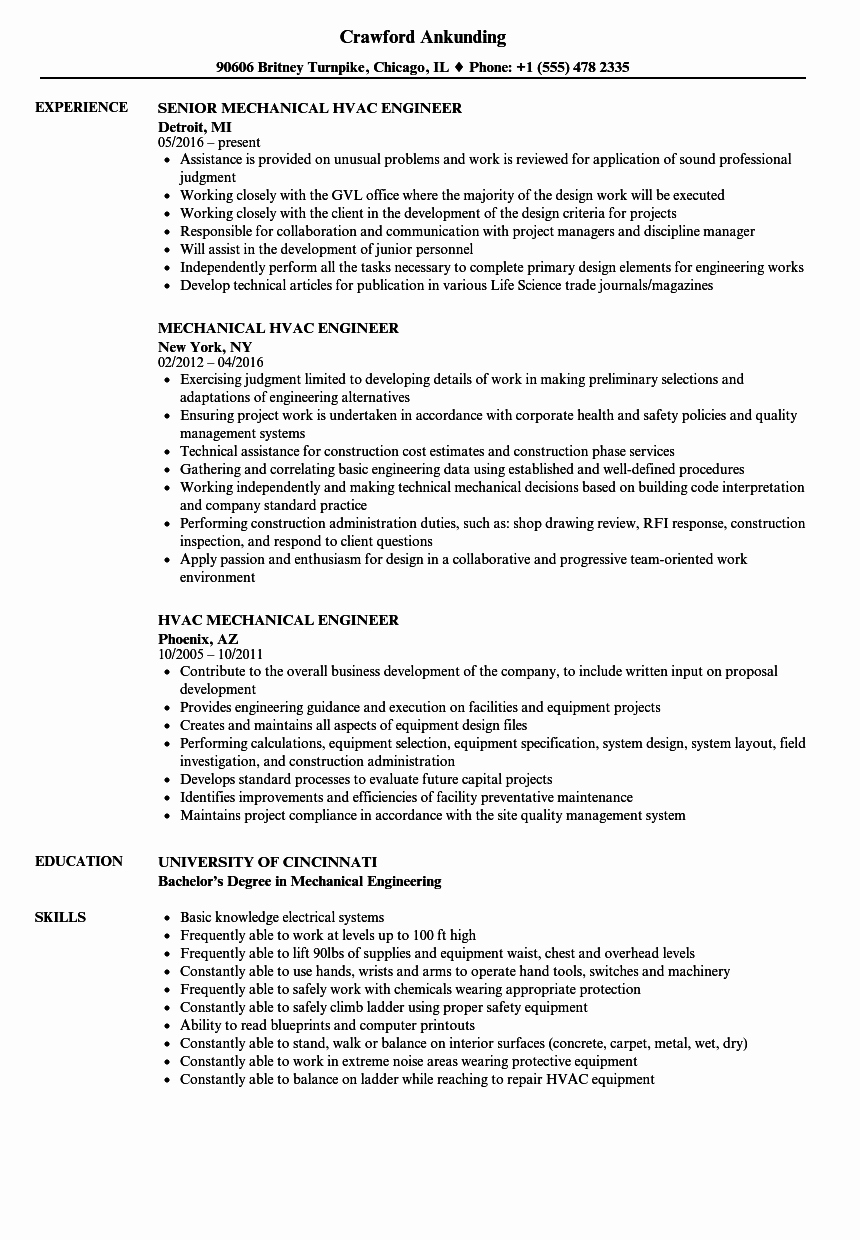 Hvac Mechanical Engineer Resume Resume Ideas