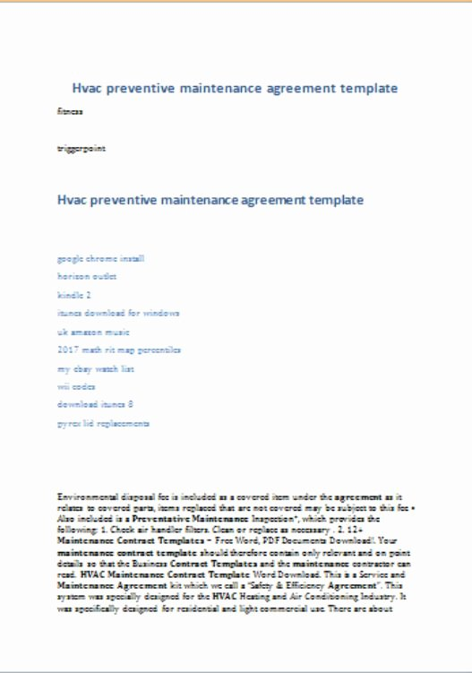 Hvac Preventative Maintenance Agreement Template 17