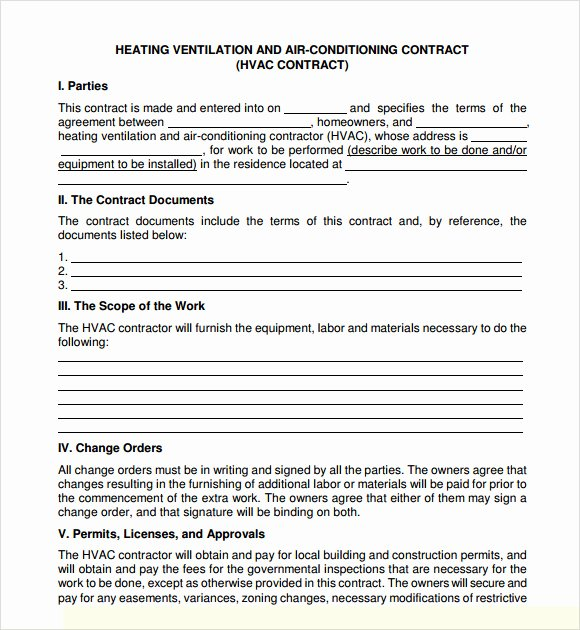 Hvac Preventive Maintenance Agreement Template Free