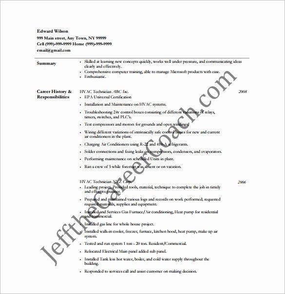 Hvac Resume Template – 10 Free Word Excel Pdf format