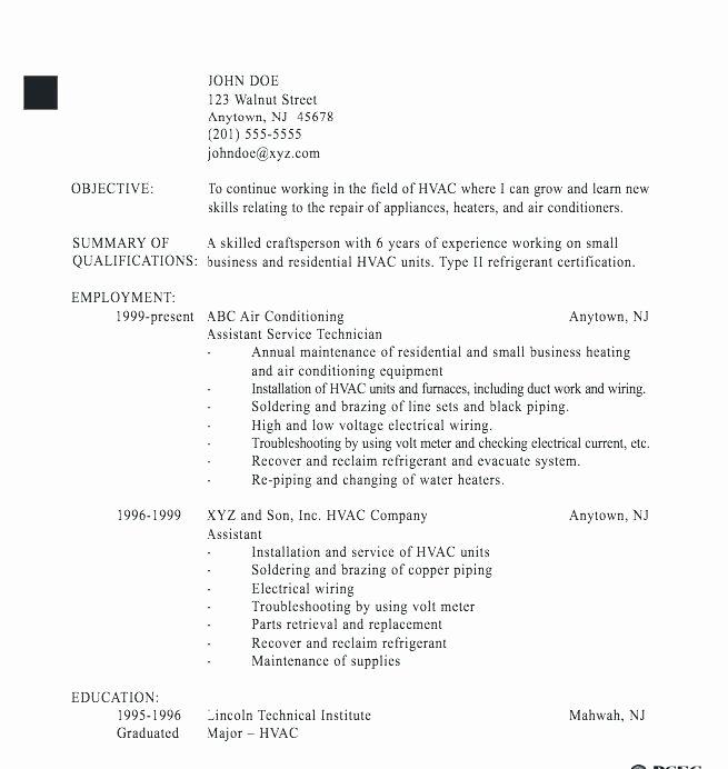 Hvac Sample Resume Entry Level