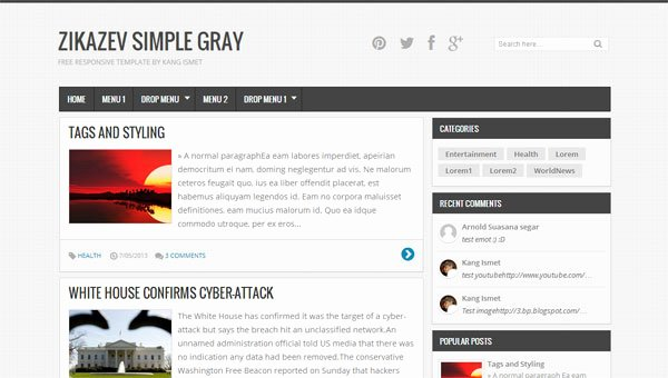 I Am Blogger Simple Gray and Responsive Blogger Templates