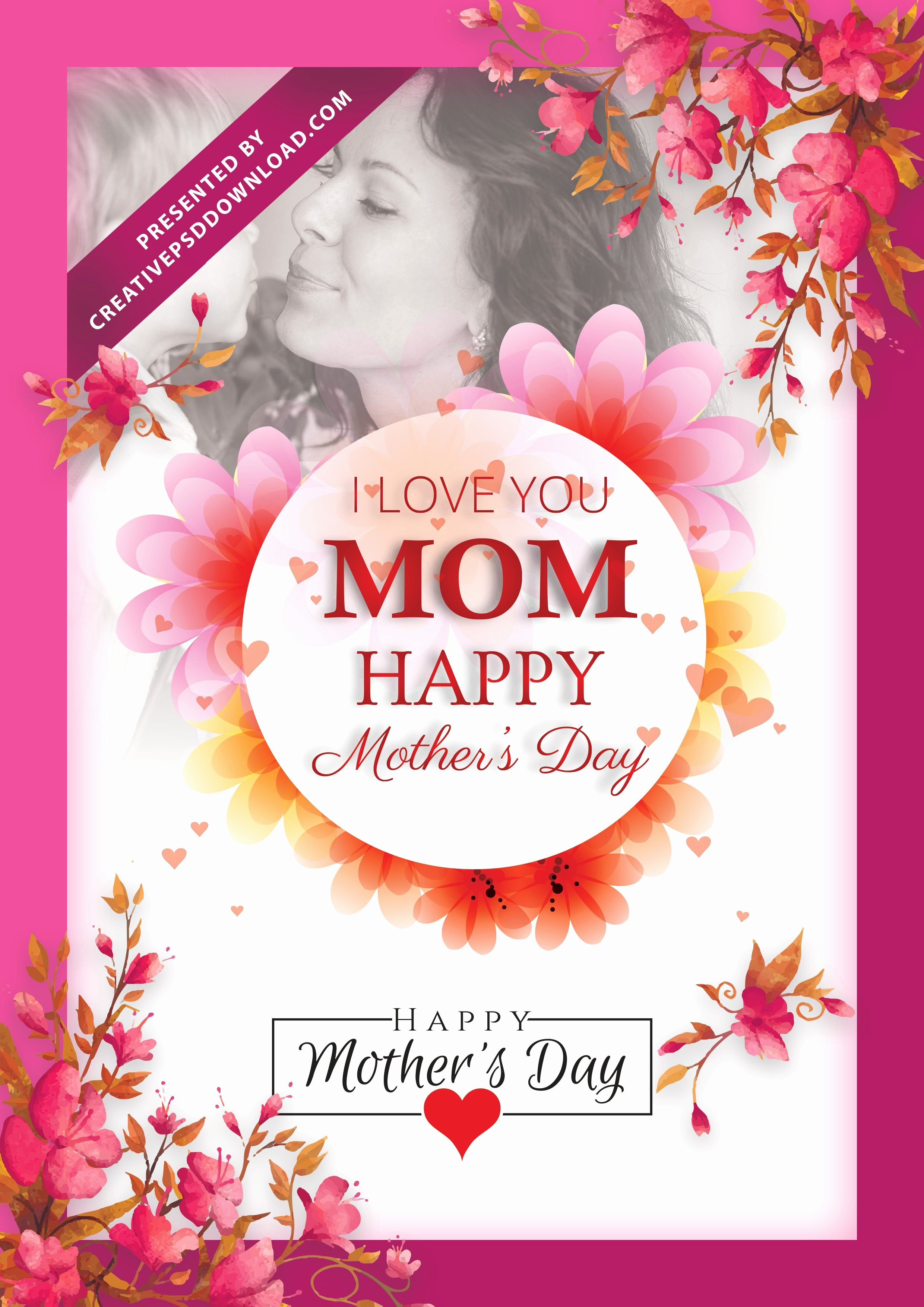 I Love You Mom Happy Mothers Day Flyer Template Psd Free