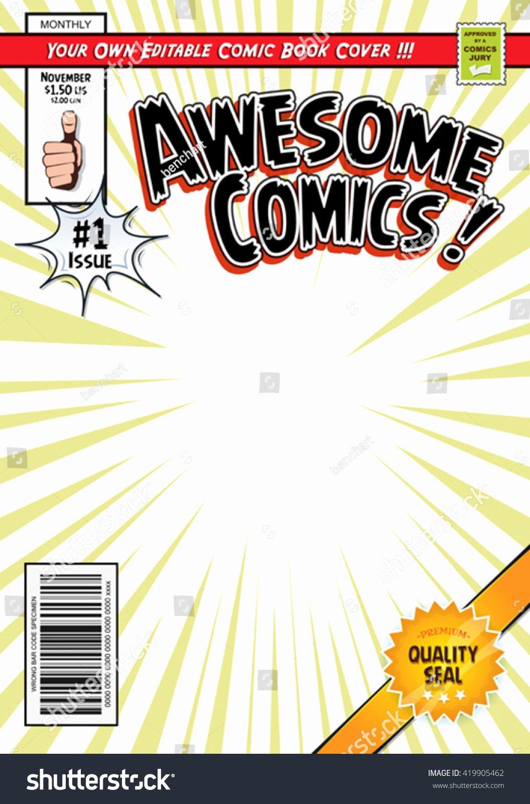 Ic Book Cover Template Illustration Cartoon Editable