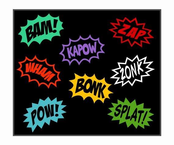 Ic Superhero Cartoon Word Splash Vinyl Decals by