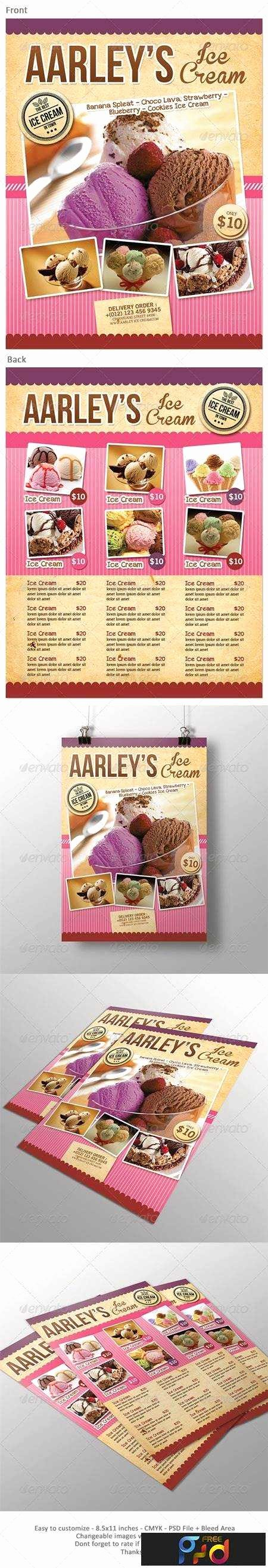 Ice Cream Menu Flyer • Freepsdvn