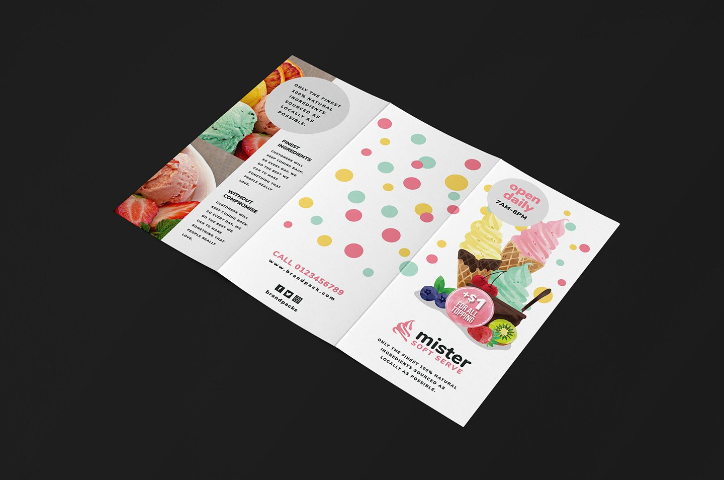 Ice Cream Shop Trifold Menu Template for Shop
