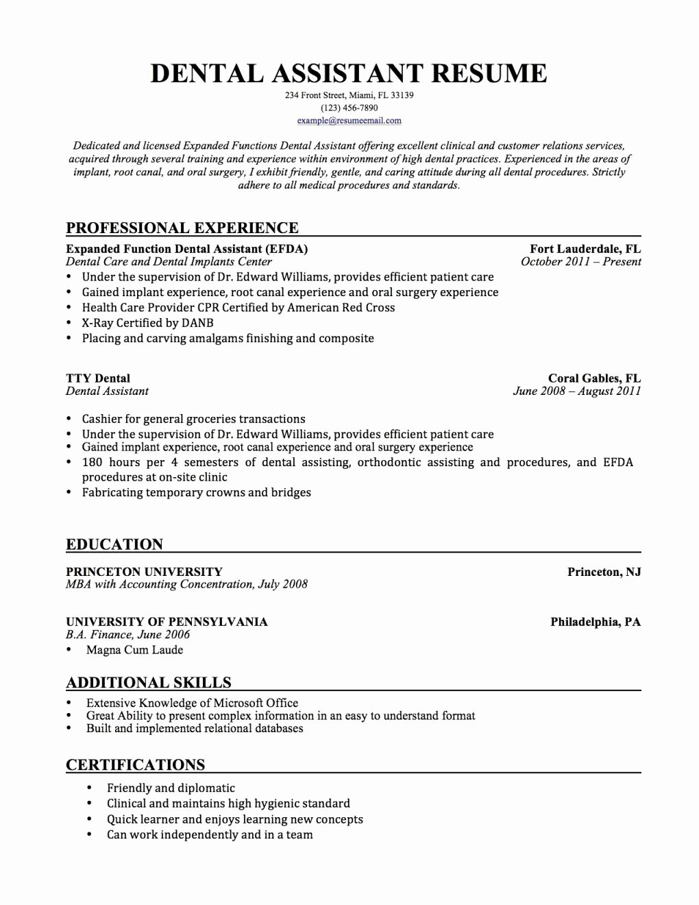 Ideal orthodontic assistant Resume Xz91 – Documentaries