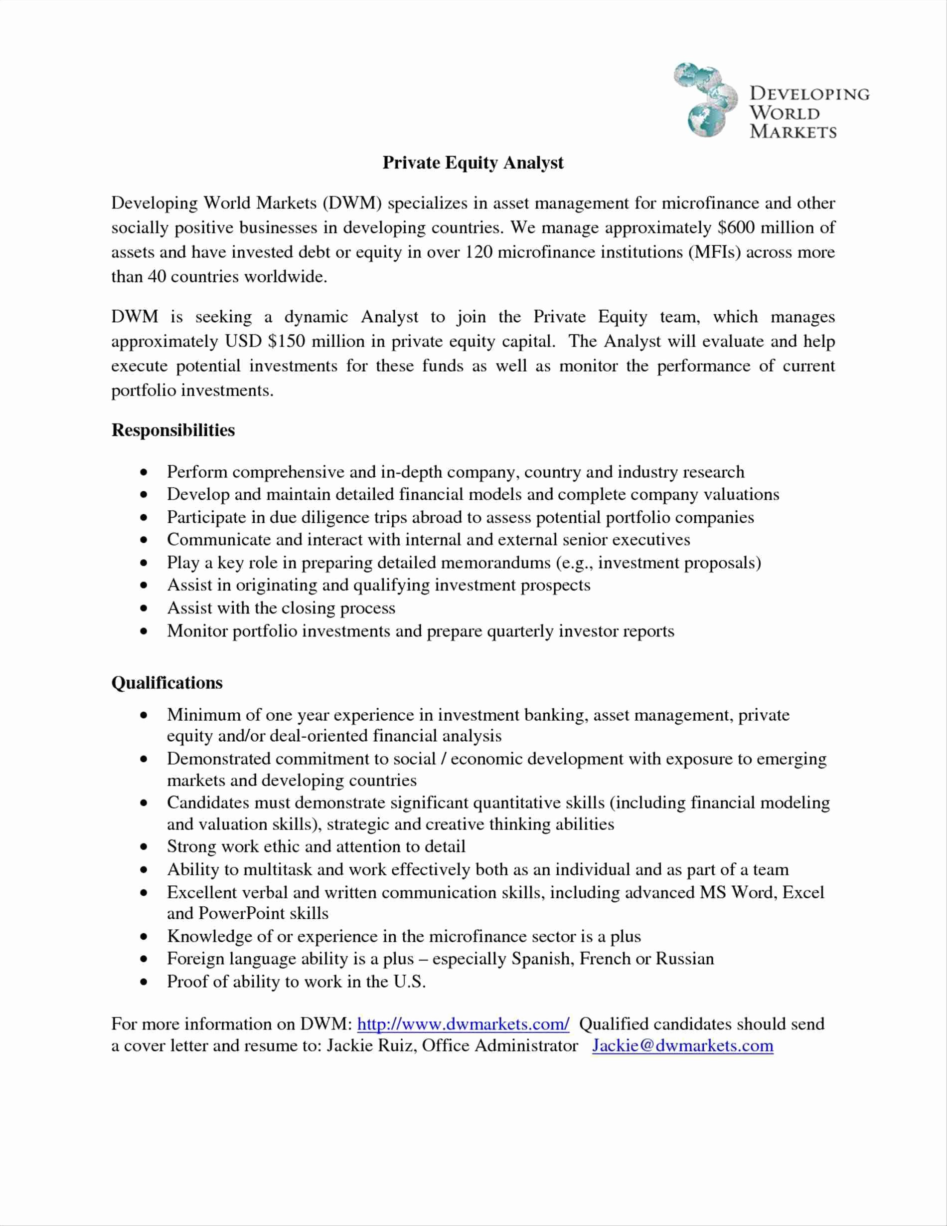 Ideas Collection Cover Letter for Private Equity Role