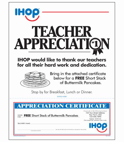 Ihop Local Store Marketing Teacher Appreciation Letter