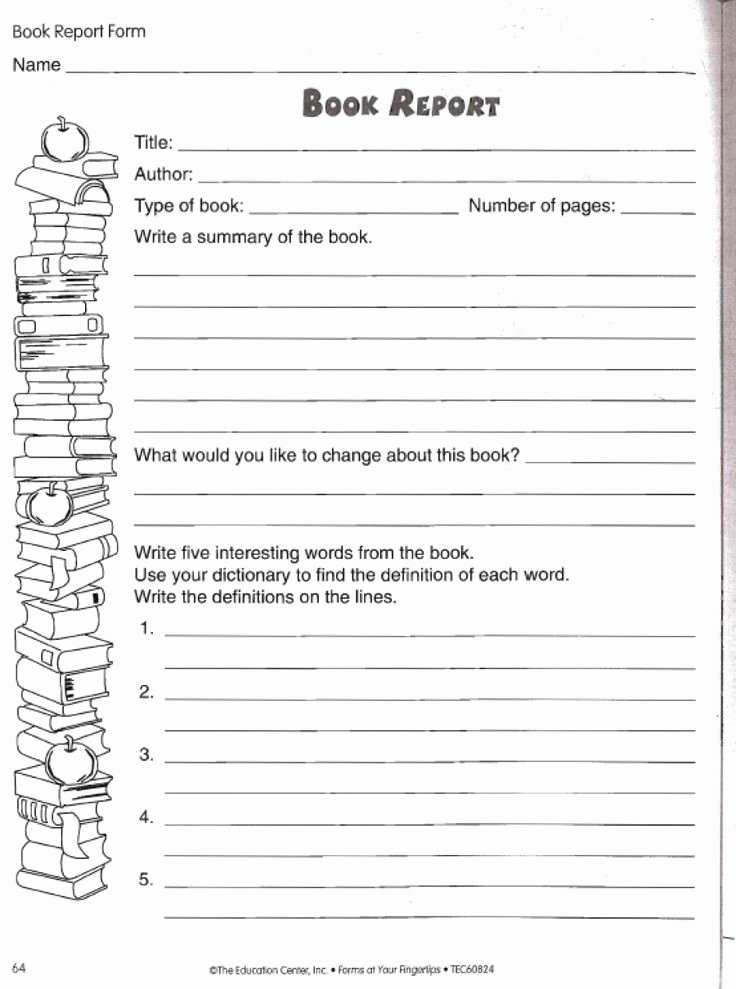 Image Result for 6th Grade Book Report format