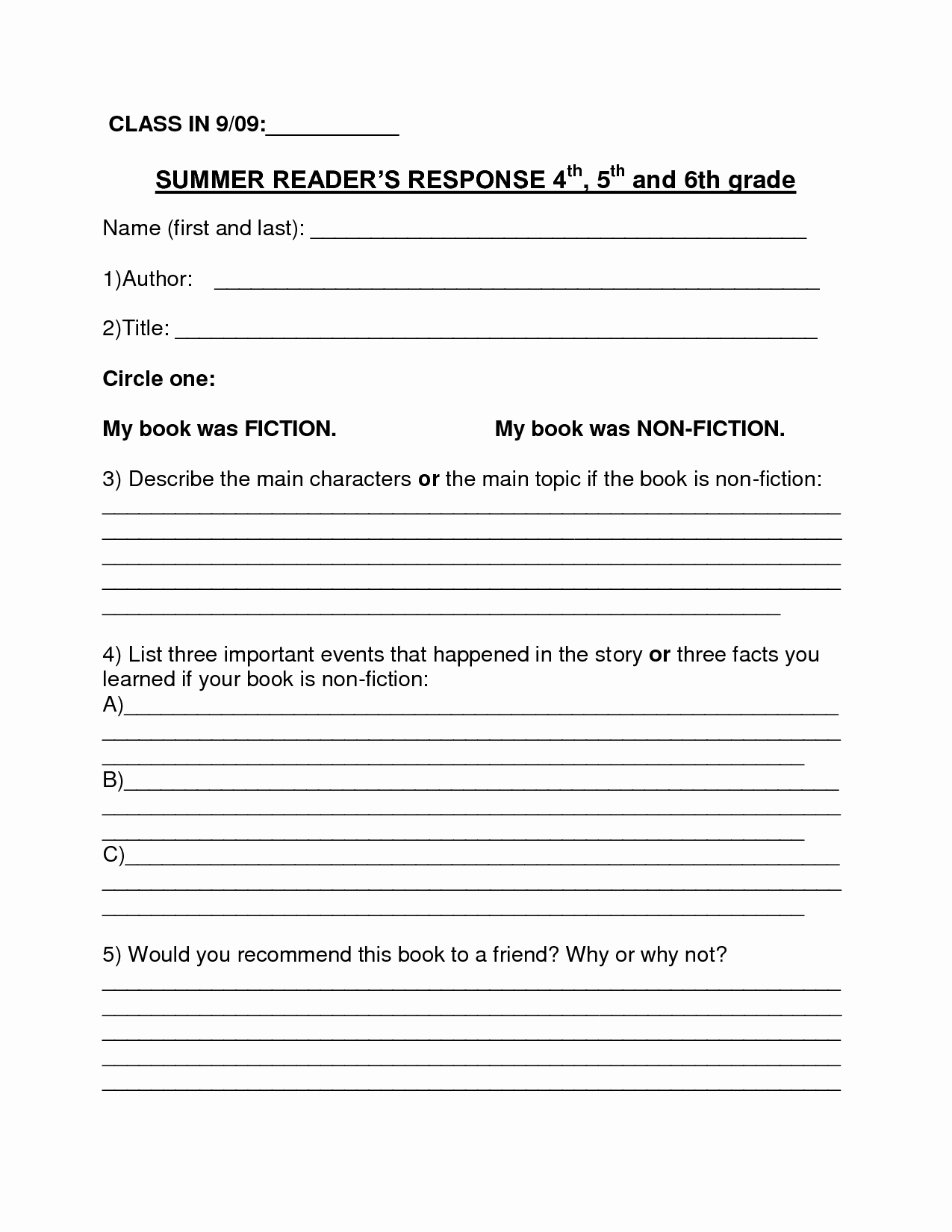 Image Result for Book Report Summer Reading form 6th Grade