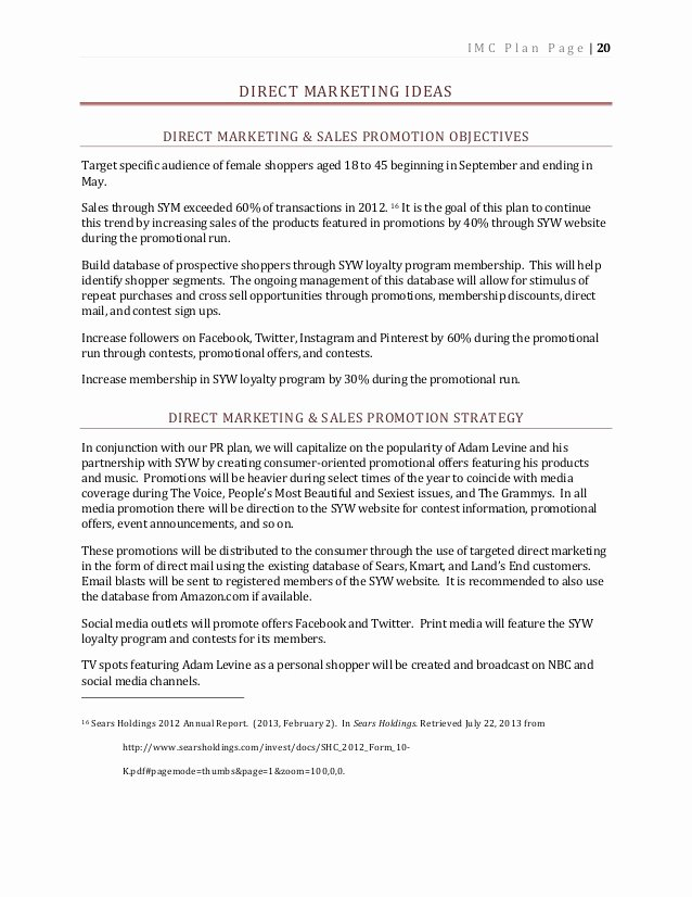 Imc 610 Integrated Marketing Munication Plan for Kmart