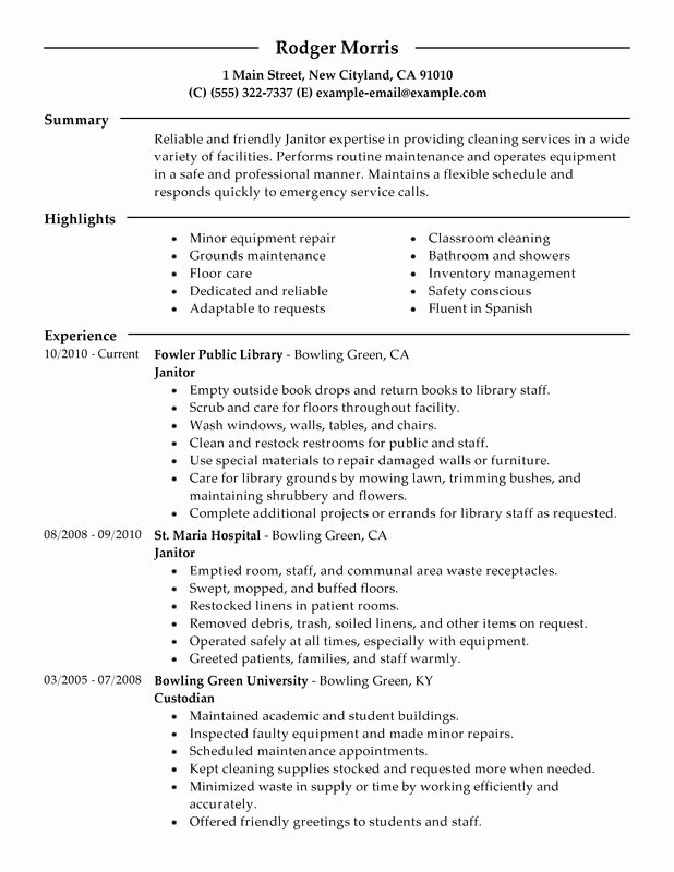 Impactful Professional Maintenance & Janitorial Resume