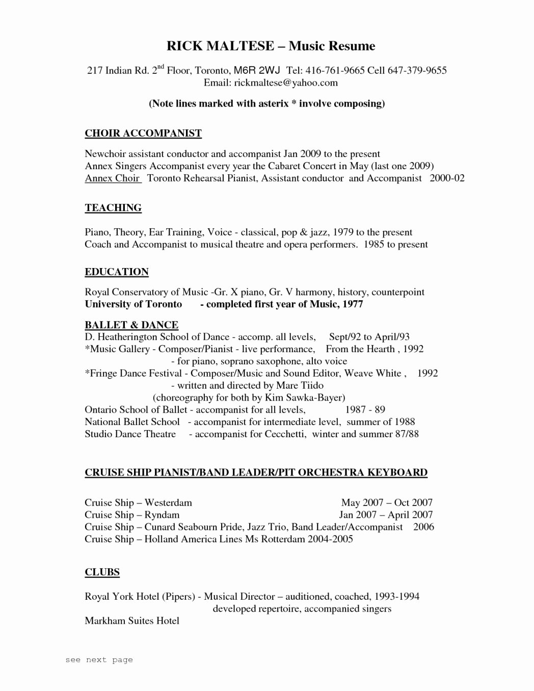 Impressive Music Resume Template Industry theatre Business