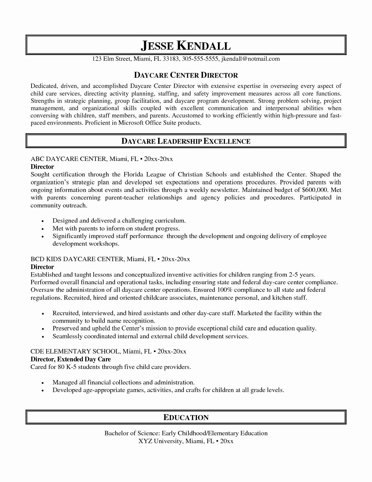 Impressive Sample Resume for Daycare Worker Also Child