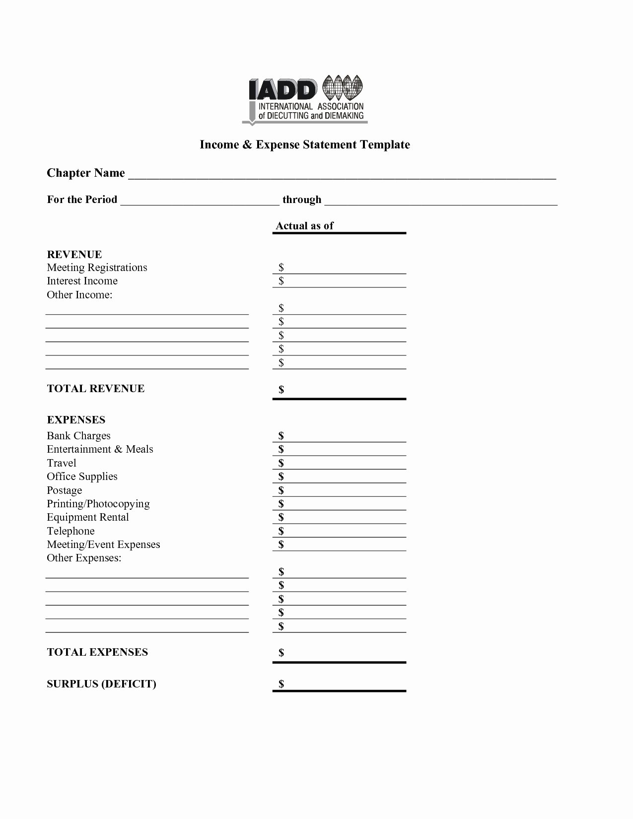 In E and Expense Statement Template 2018