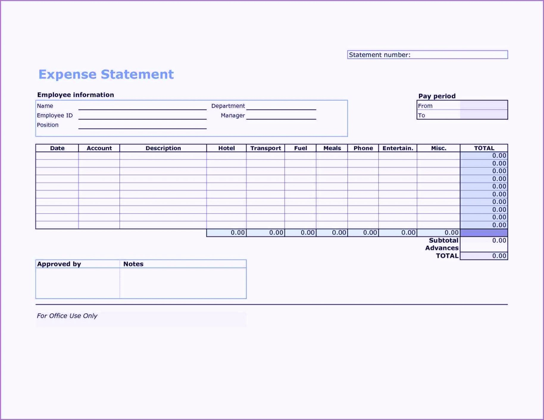 In E Statement Template Excel