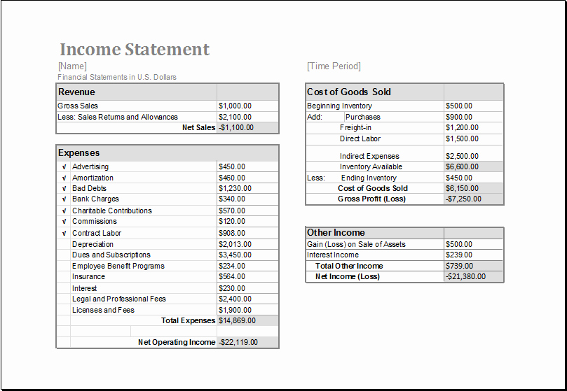 In E Statement Template Excel Excel Spreadsheet