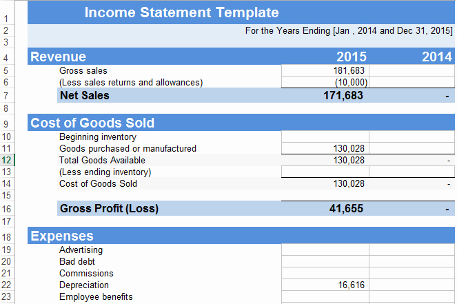 In E Statement Template Excel Free