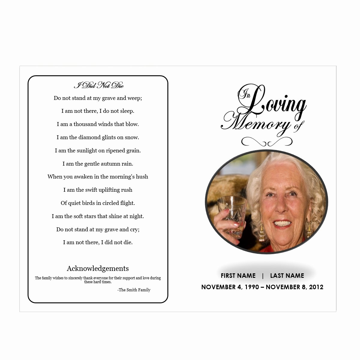 In Loving Memory Funeral Pamphlets