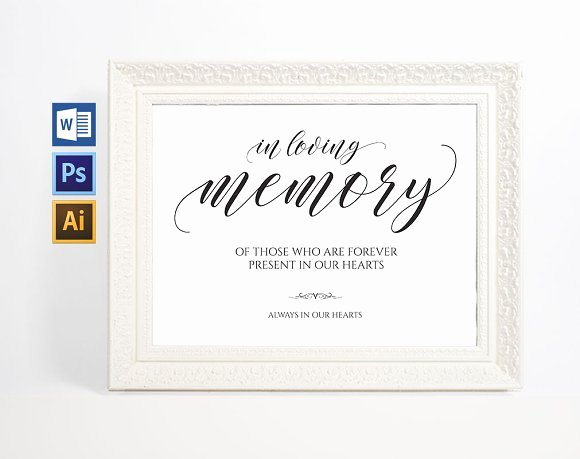 In Loving Memory Sign Wpc38 Invitation Templates
