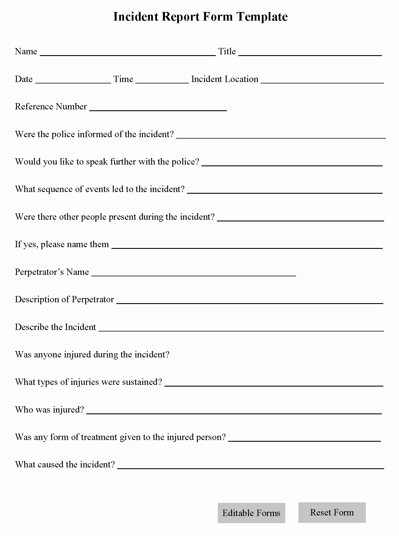 Incident Report form Template