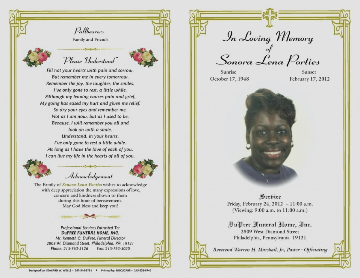Incredible Gallery Blank Funeral Program Template