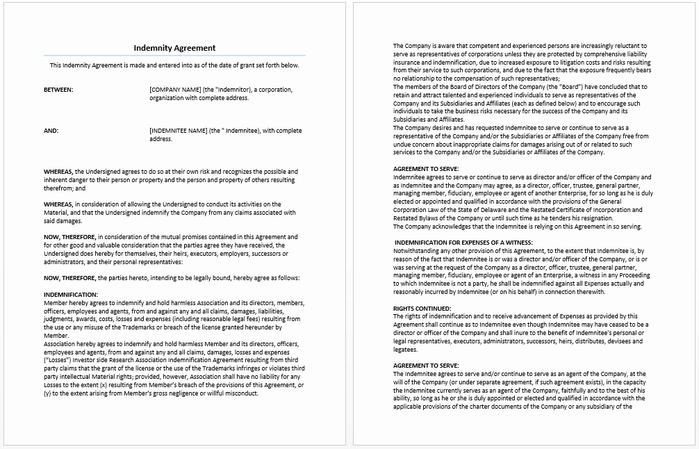 Indemnity Agreement Template – Microsoft Word Templates