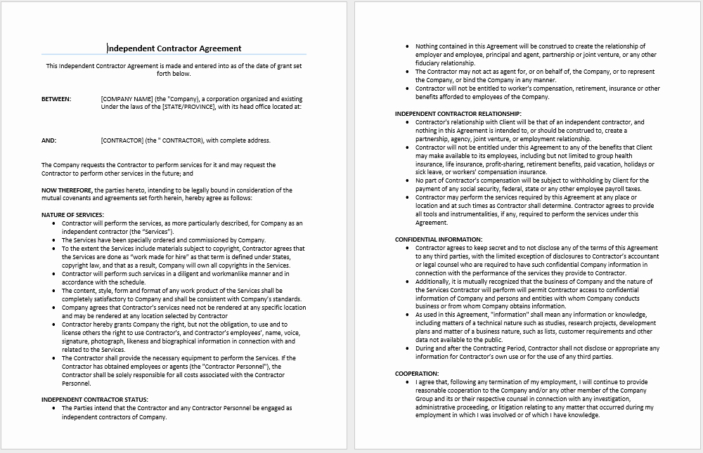 Independent Contractor Agreement Template Microsoft Word